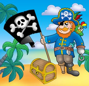 Pirate with flag on beach