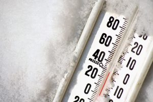 Close-up of frozen thermometer at 30 degrees Fahrenheit