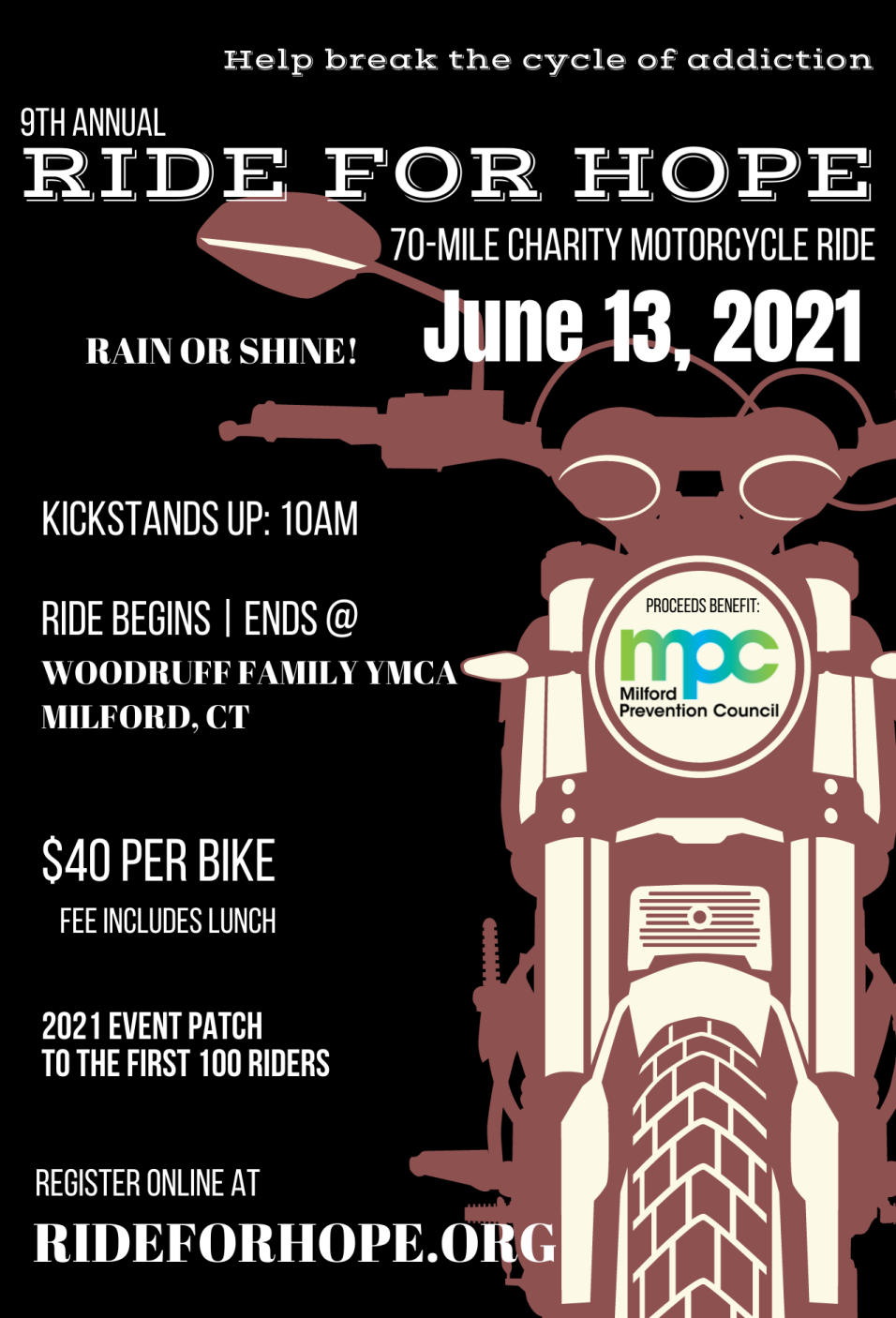Milford Prevention Council 9TH ANNUAL RIDE FOR HOPE CHARITY MOTORCYCLE RIDE