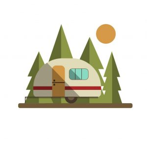 Camper Trailer on the Road with Trees and Sun