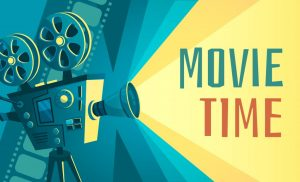 Movie time poster. Vintage cinema film projector, home movie theater and retro camera vector illustration