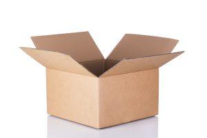 Isolated shot of opened blank cardboard box on white background