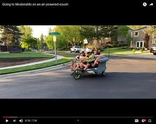 "Viral Video: Going To McDonalds On An ""Air Powered Couch"""