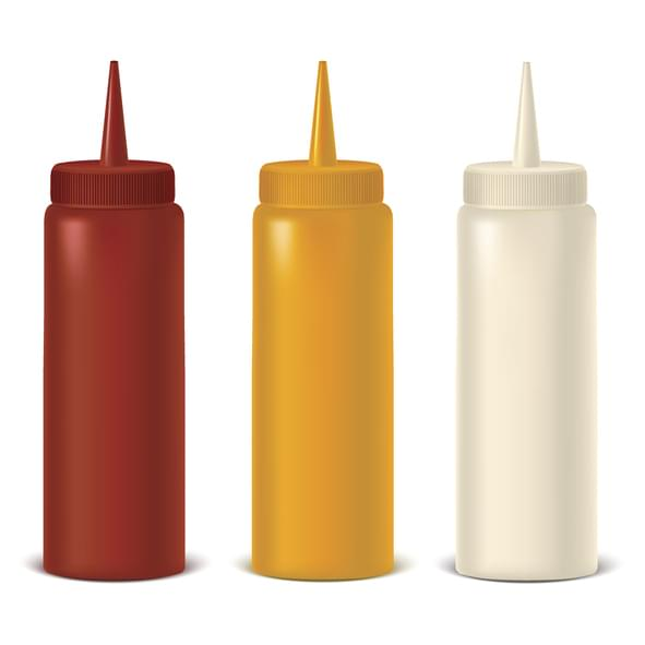 Realistic Detailed Bottle Set for Sauce, Mustard and Ketchup. Vector