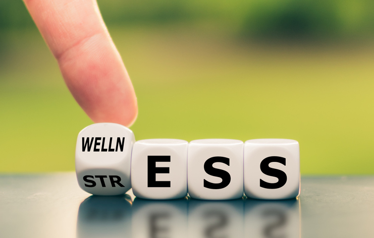 """Wellness instead of stress. Hand turns a dice and changes the word """"stress"""" to """"wellness""""."""