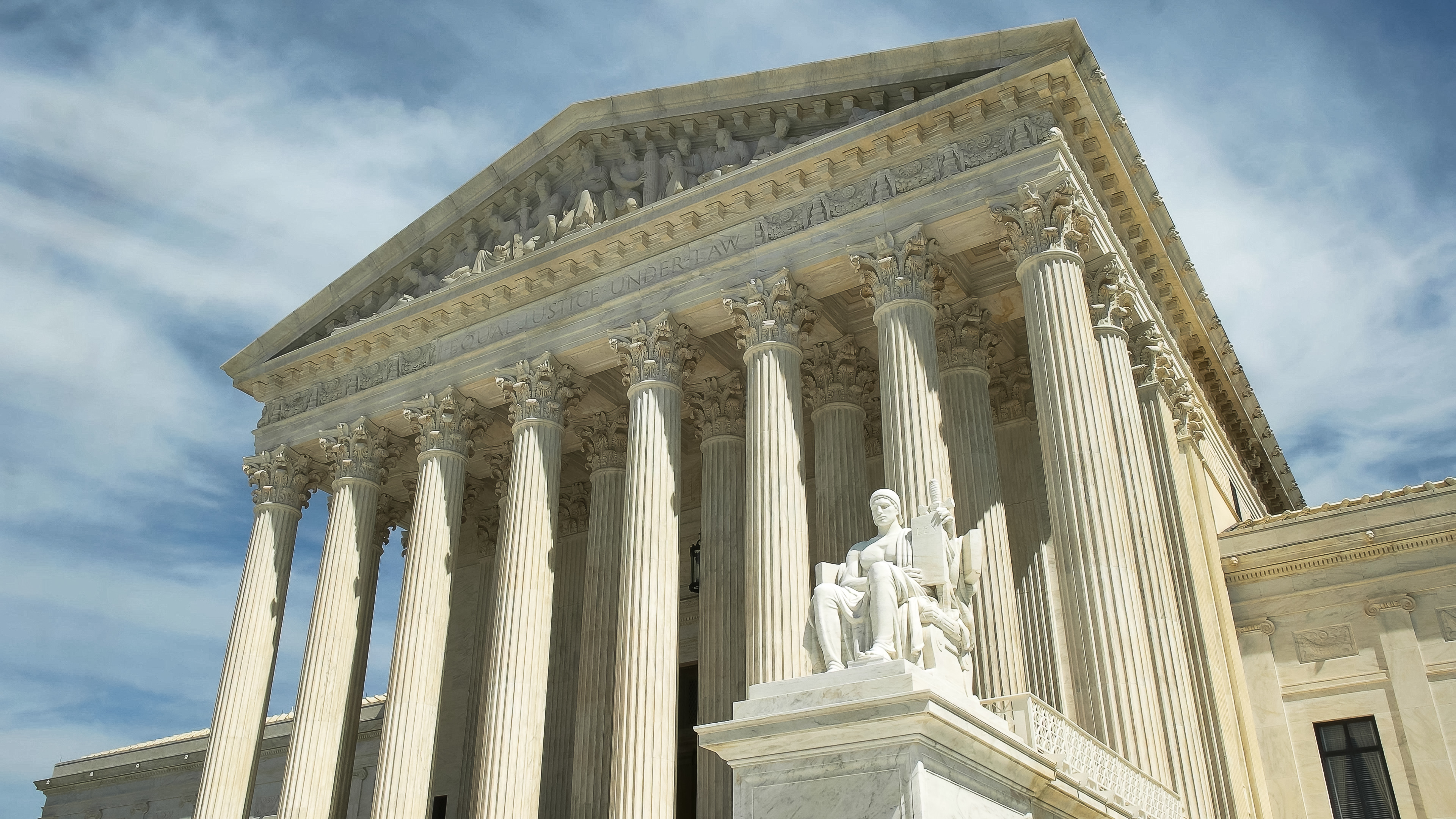 oblique shot of the us supreme court in washington d.c.