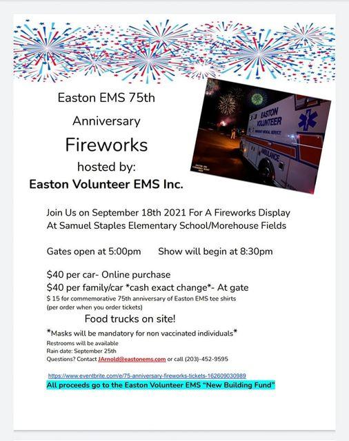 Easton Volunteer EMS September 18th Fireworks Fundraiser