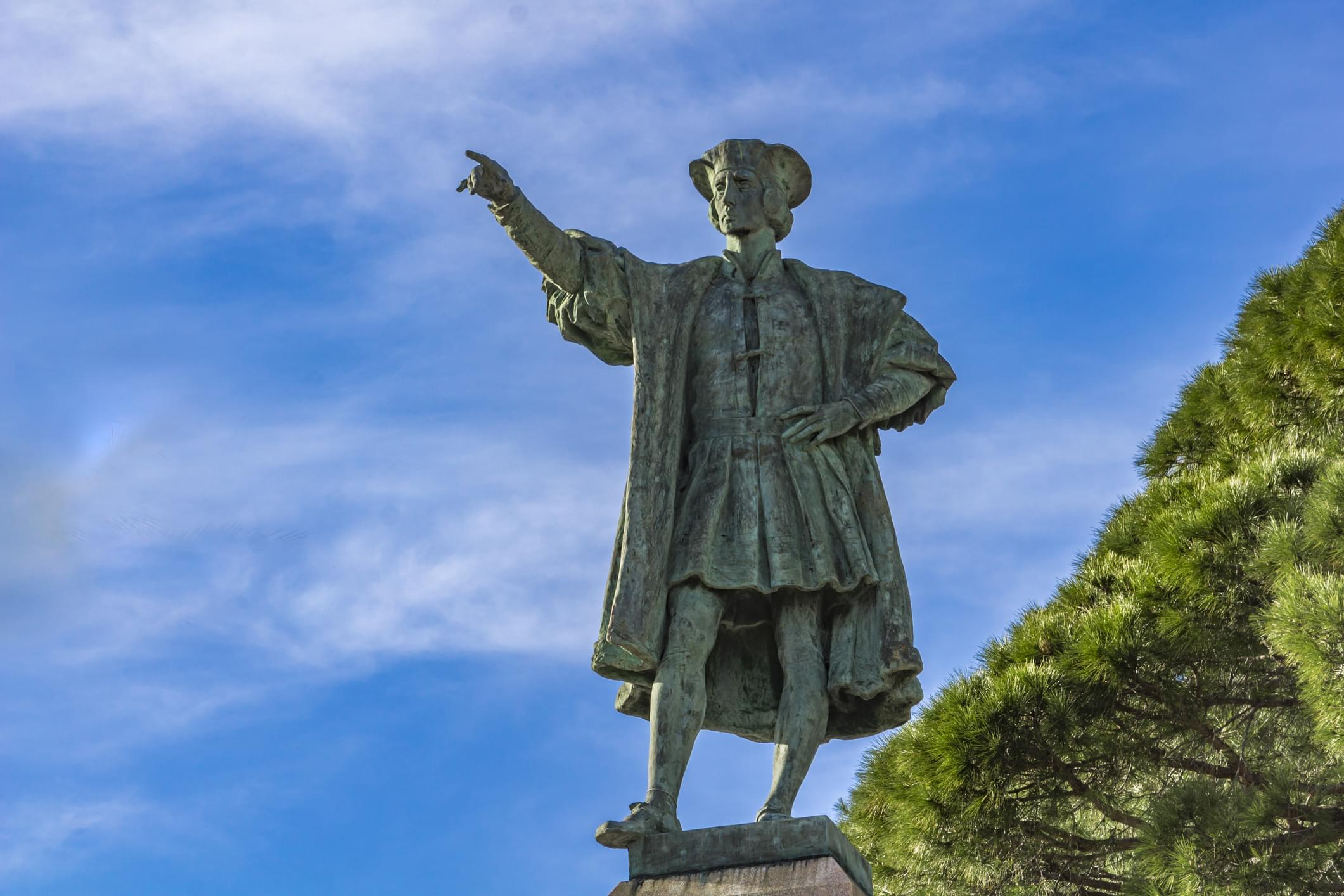 Monument to Christopher Columbus in Rapallo, Italy