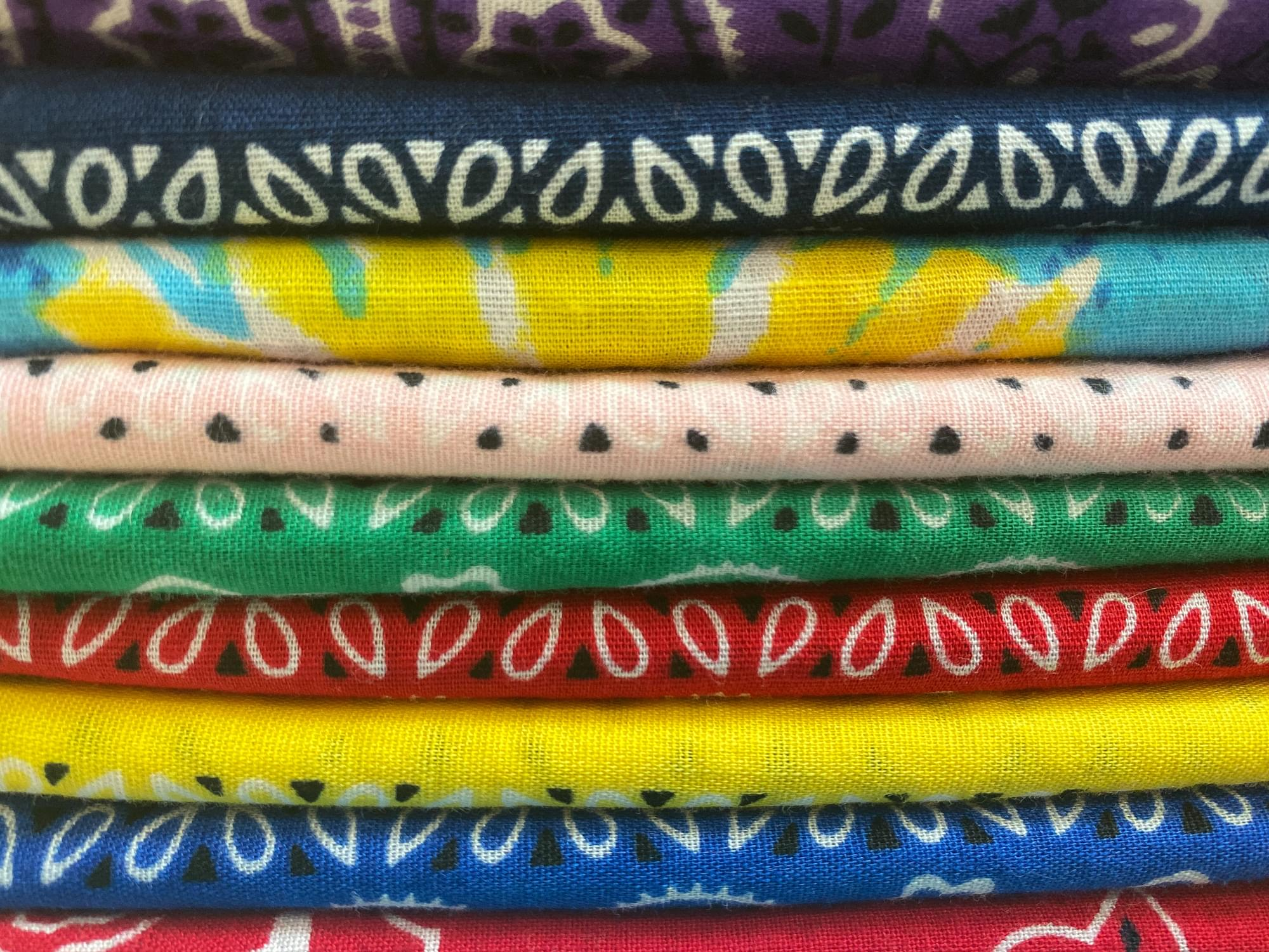Stack of Colorful Cotton Bandanas to Make Face Coverings