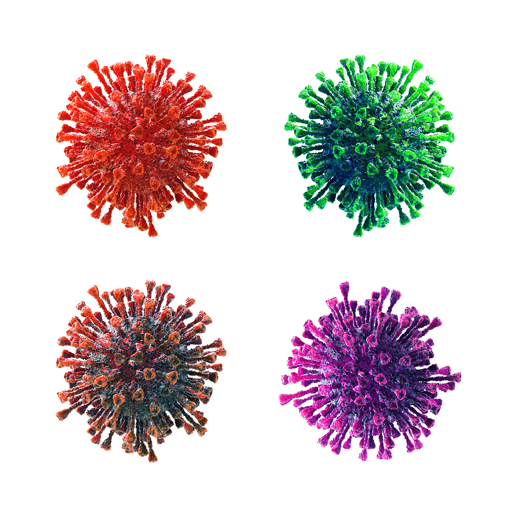 Coronavirus, virus, flu, bacteria. Abstract 3D rendered illustration isolated on white background.