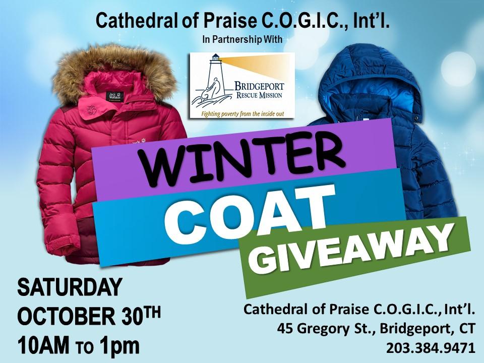 Bridgeport Rescue Mission Winter Coat Giveaway