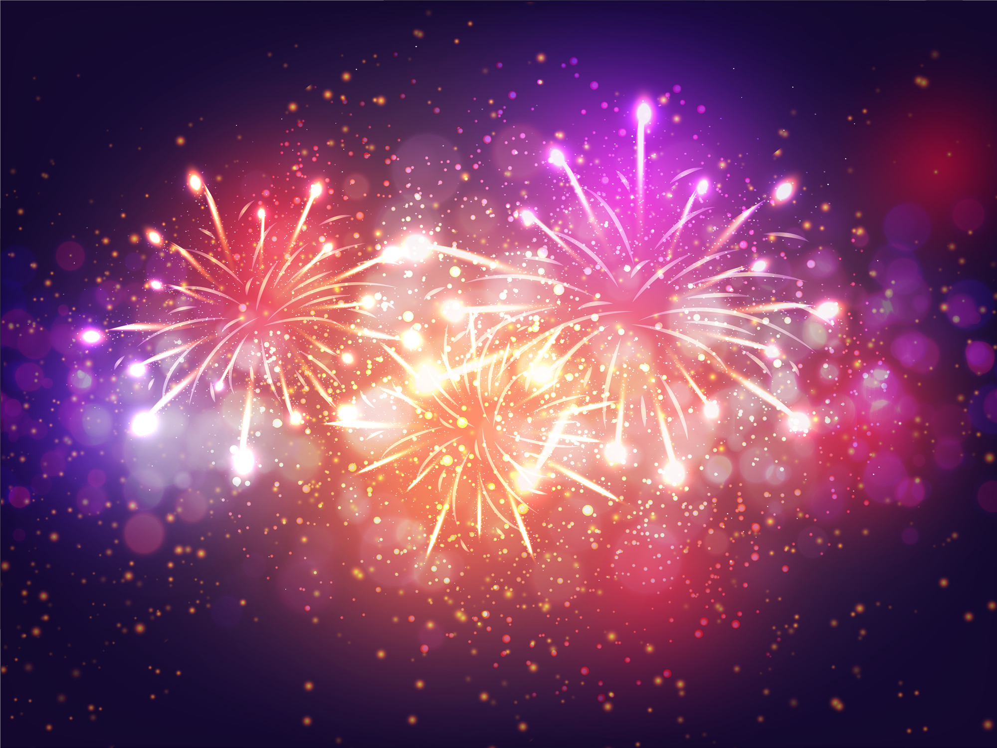Colorful Fireworks Lighting Effect on Purple Background for Celebration Concept.