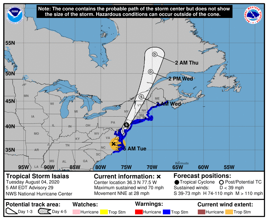 Warnings issued for LI as Tropical Storm Isaias roll up east coast
