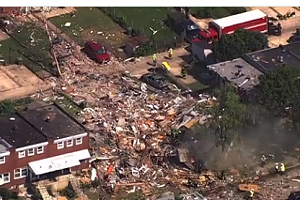 Aerial footage shows the destruction from explosion in Baltimore neighborhood