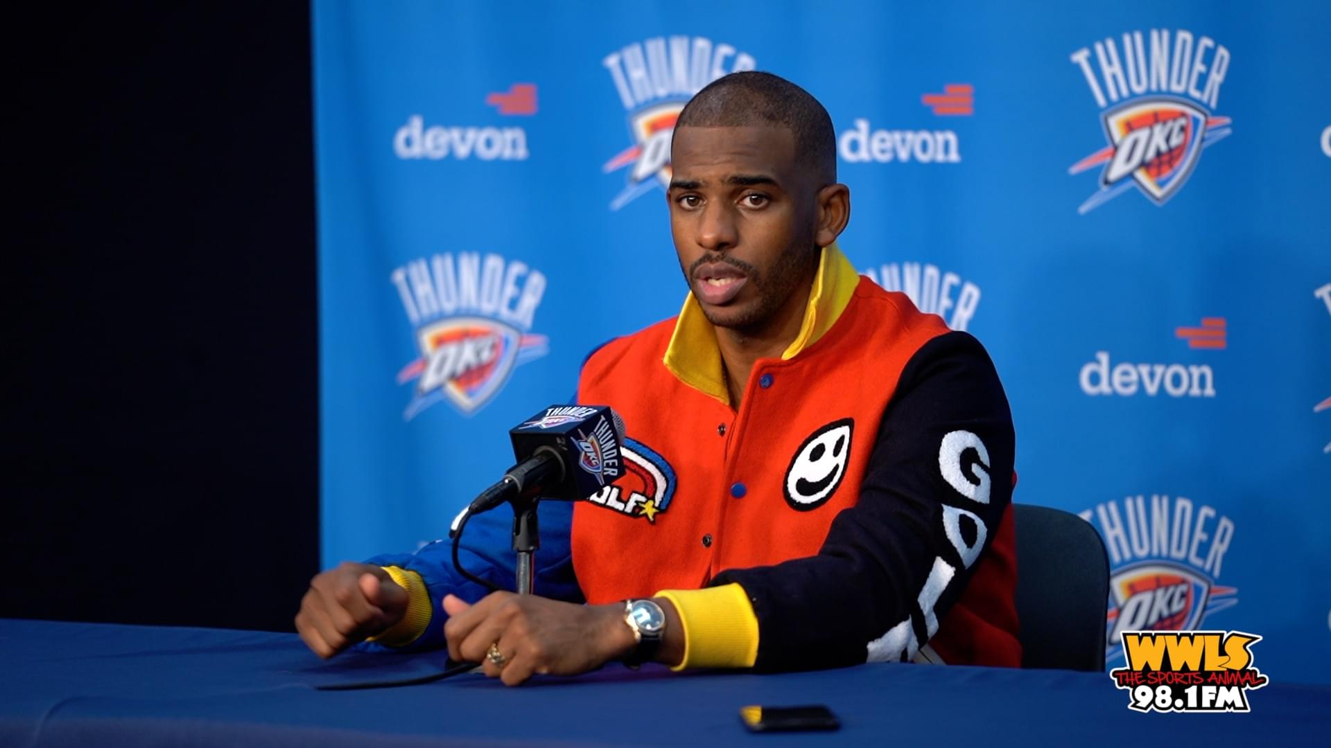 CHRIS PAUL TALKS TO MEDIA AFTER 113-92 WIN OVER HOUSTON ROCKETS