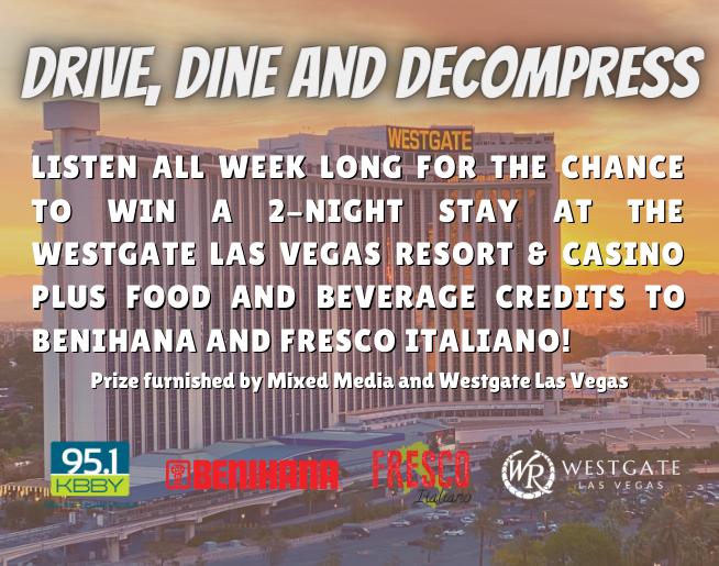 """95.1 KBBY's """"Drive, Dine and Decompress Weekend"""" Contest Official Rules"""