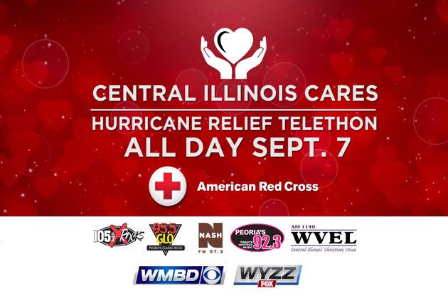 Be A Part of Hurricane Relief September 7th With WMBD 31 and 97.3 Nash FM #CentralIllinoisCares