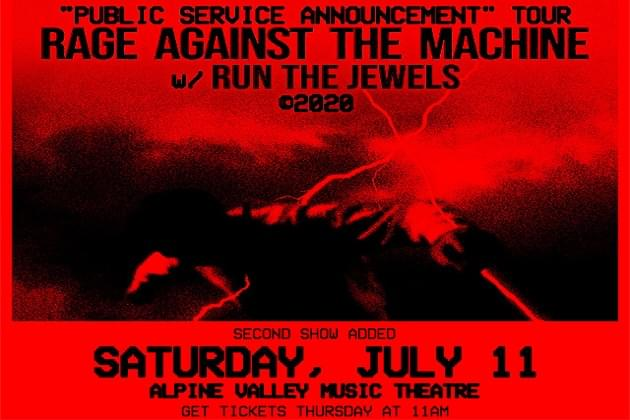 RAGE AGAINST THE MACHINE Announces Second Show For Alpine Valley On July 11th!