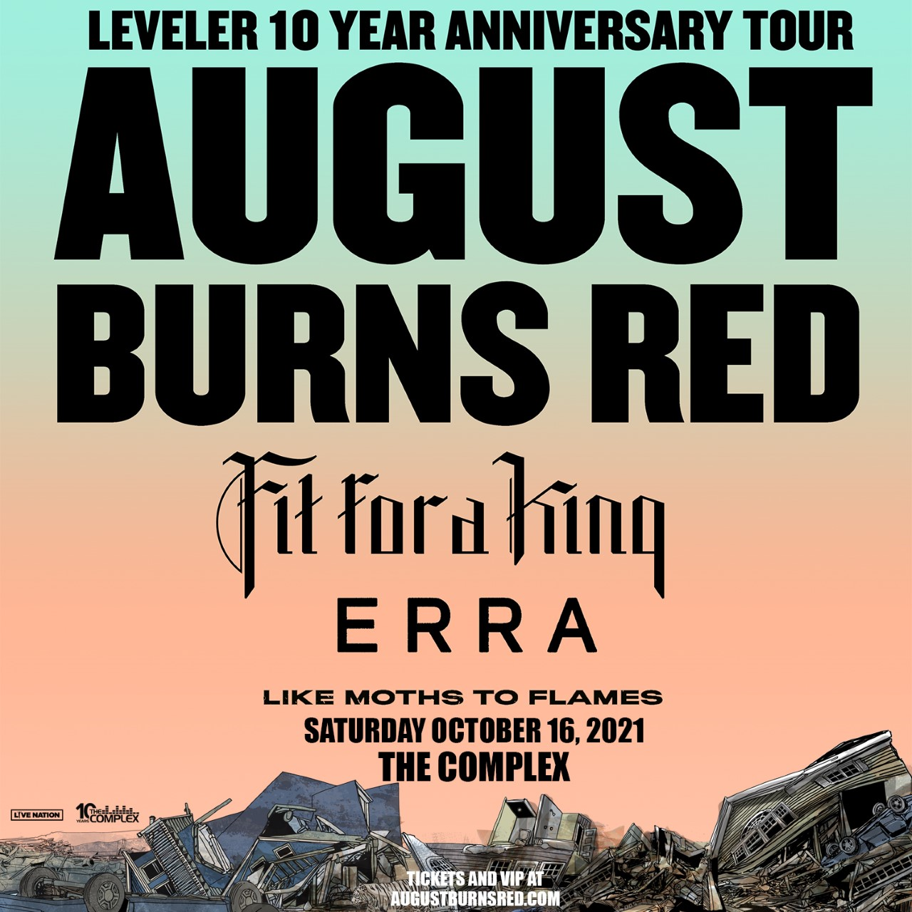 Win 2 Tix to Leveler 10 Year Anniversary Tour: August Burns Red, Fit For a King, Erra, and Like Moths to Flames on Saturday October 16th at the Complex
