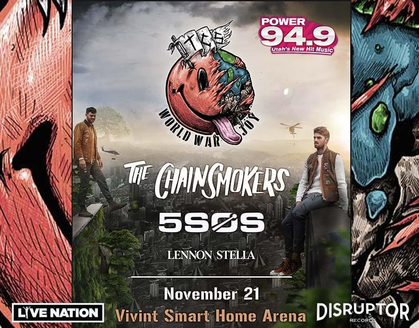 Win Tix to The Chainsmokers November 21st  at Vivint Smart Home Arena from POWER 94.9