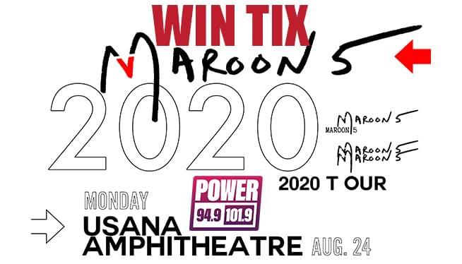 Win Maroon 5 TIX! August 24th, 2020 Usana Amphitheatre