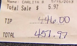 The Biggest Tips Ever Left for Service Employees
