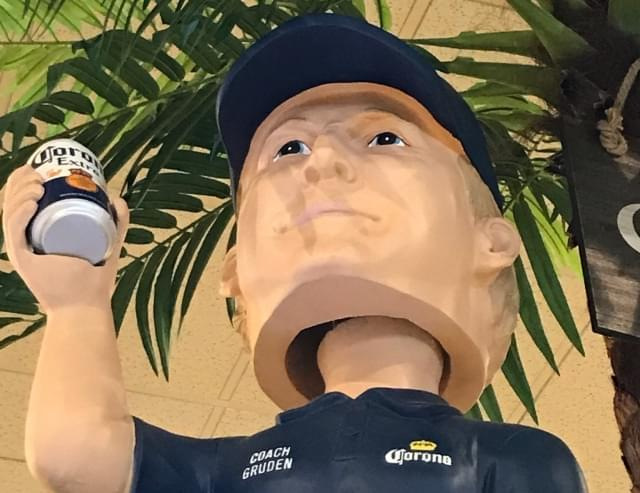The Giant John Gruden Bobblehead Doll Is Awesome But Would Have Been Even Better With A Scowl On It's Face