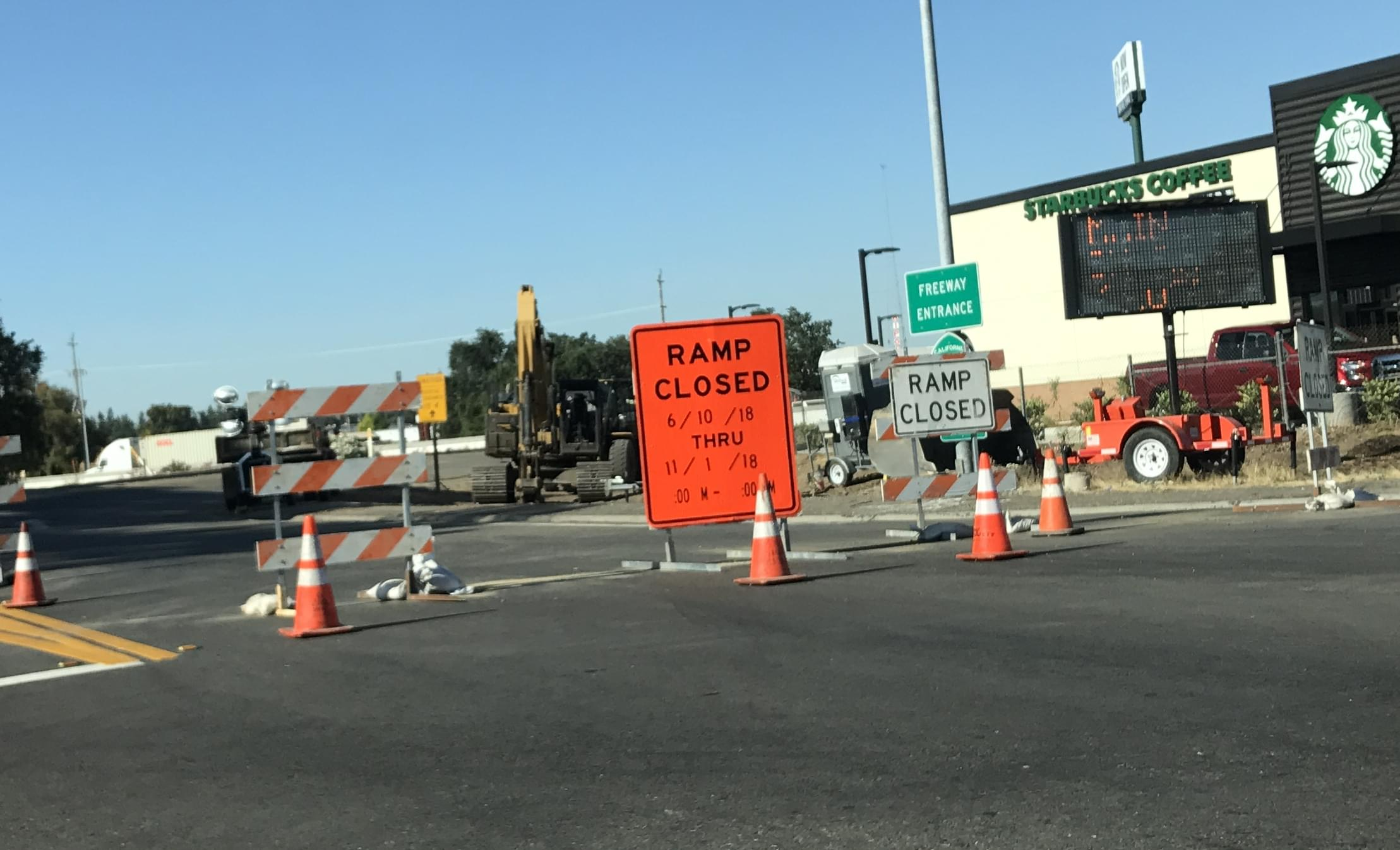 Ripon On Ramp To Northbound 99 Closed Until NOVEMBER!!!