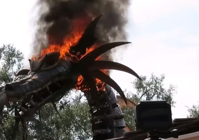 VIRAL VIDEO: Dragon Head Catches Fire at Theme Park
