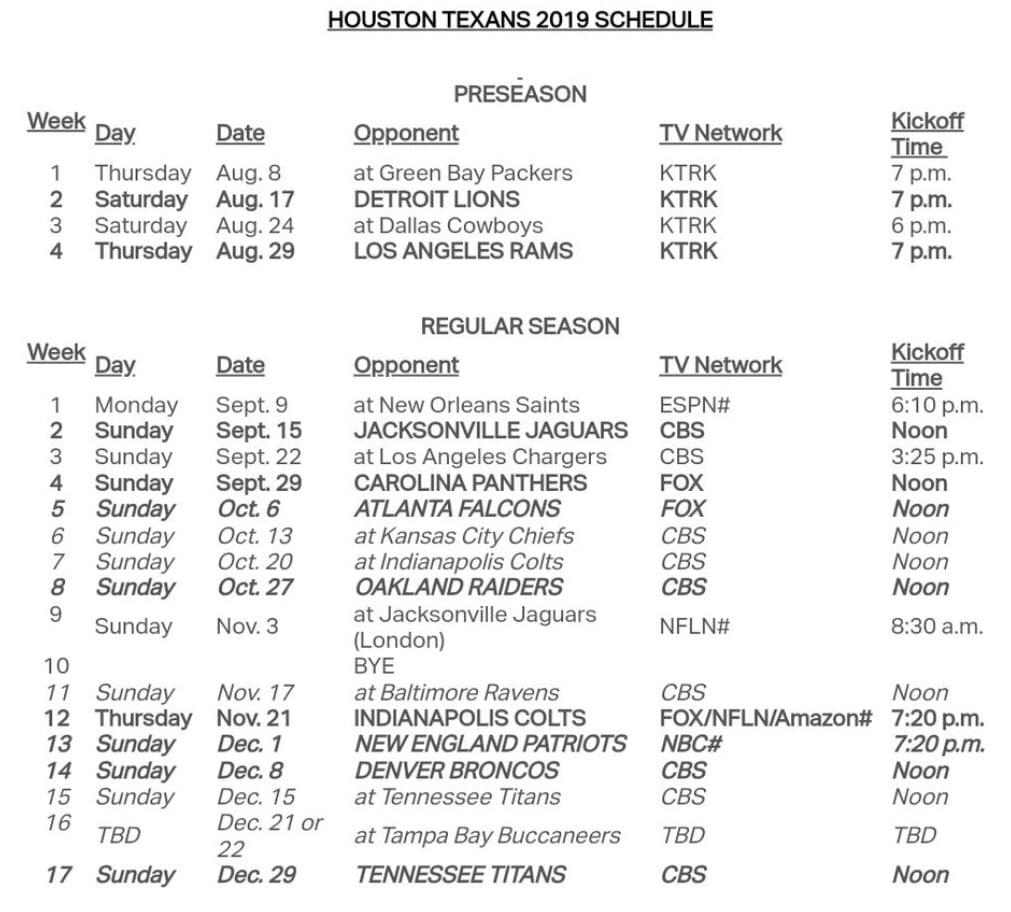 Texans Return With Their 2019 Nfl Schedule 104 1 Krbe
