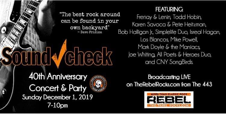 Soundcheck 40th Anniversary Concert and Party December 1st