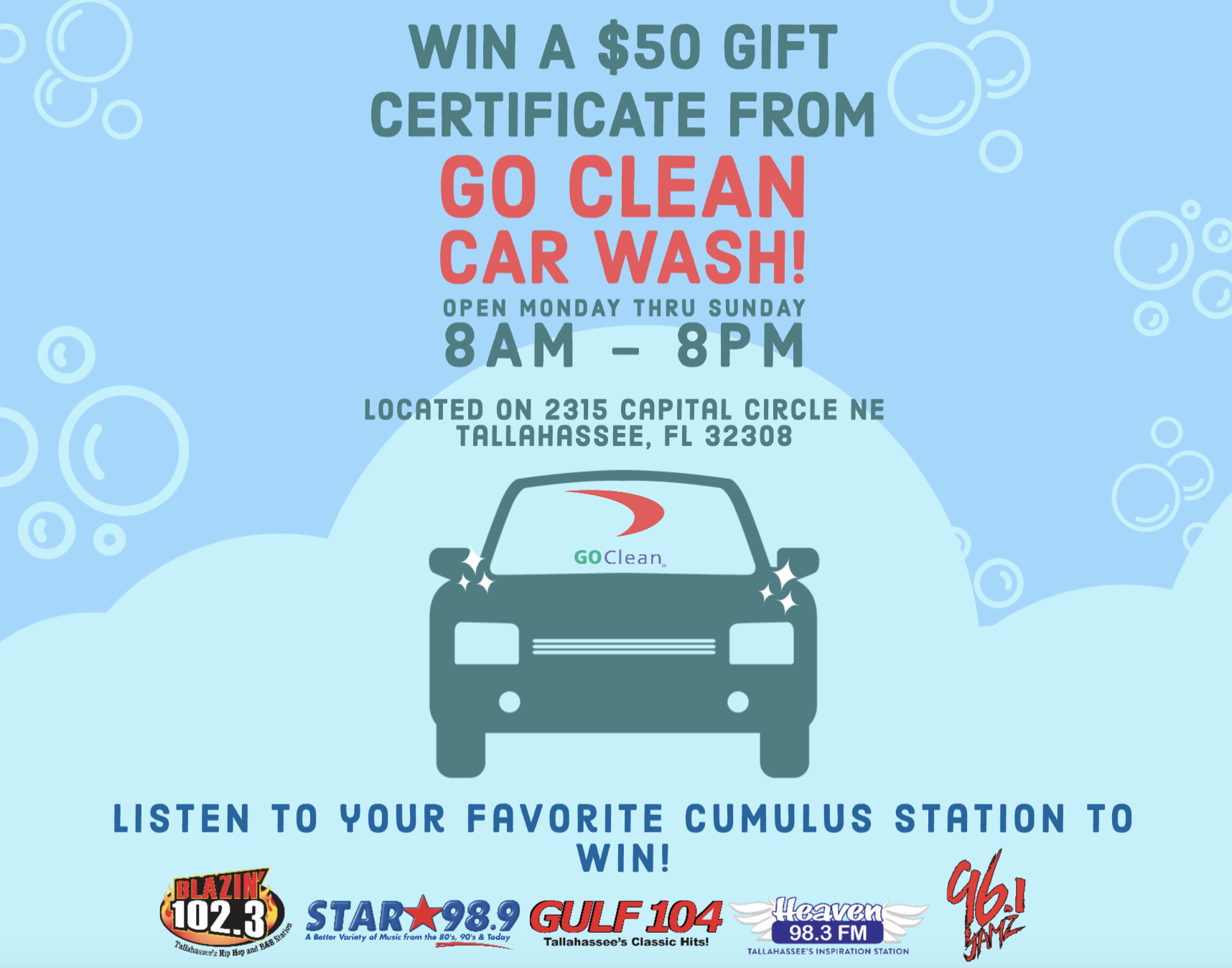 WIN a $50 Gift Certificate to Go Clean Car Wash!