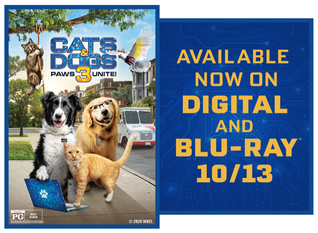 "You could WIN a digital copy of ""Cats & Dogs 3: Paws Unite!"""
