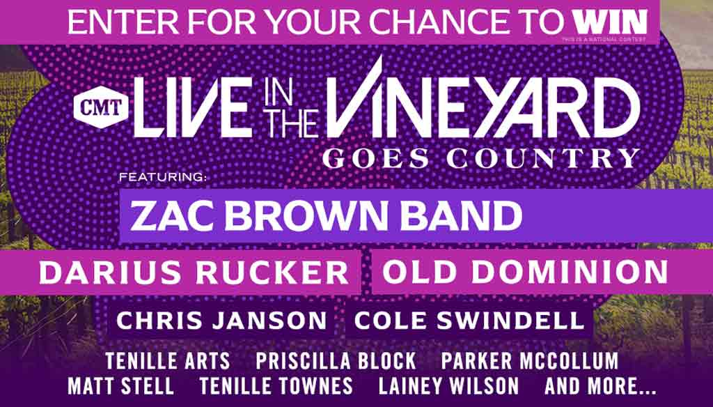 Your Chance to Win Live in the Vineyard Goes Country