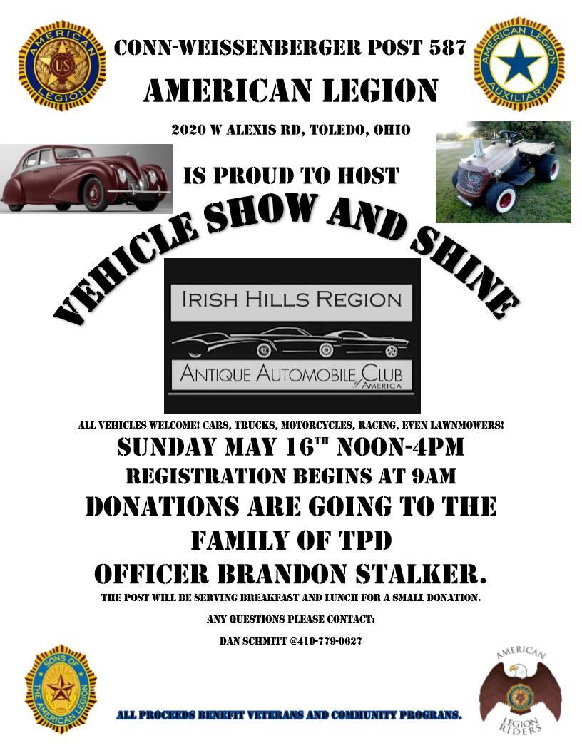 American legion Car Show Benefiting Brandon Stalker May 16th