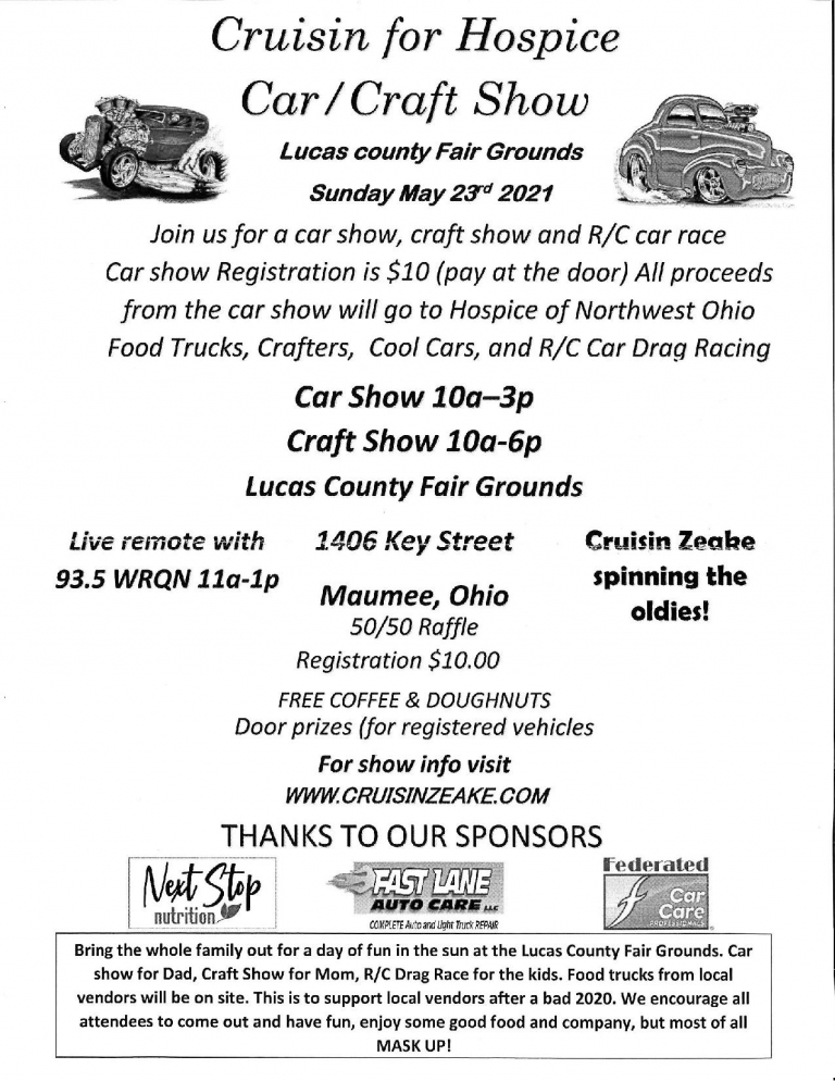 Cruisin For Hospice Car/Craft Show – Sunday May 23rd 2021