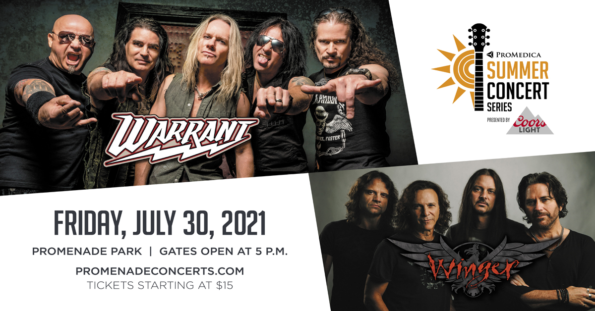 Warrant and Winger – July 30th 2021 ProMedica Summer Concert Series