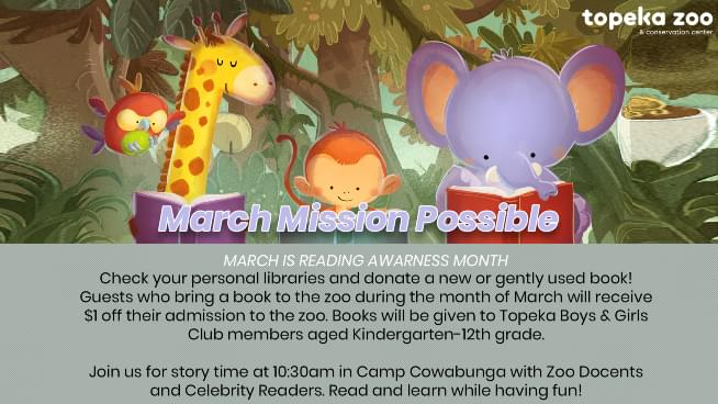 Topeka Zoo Celebrating March National Reading Month