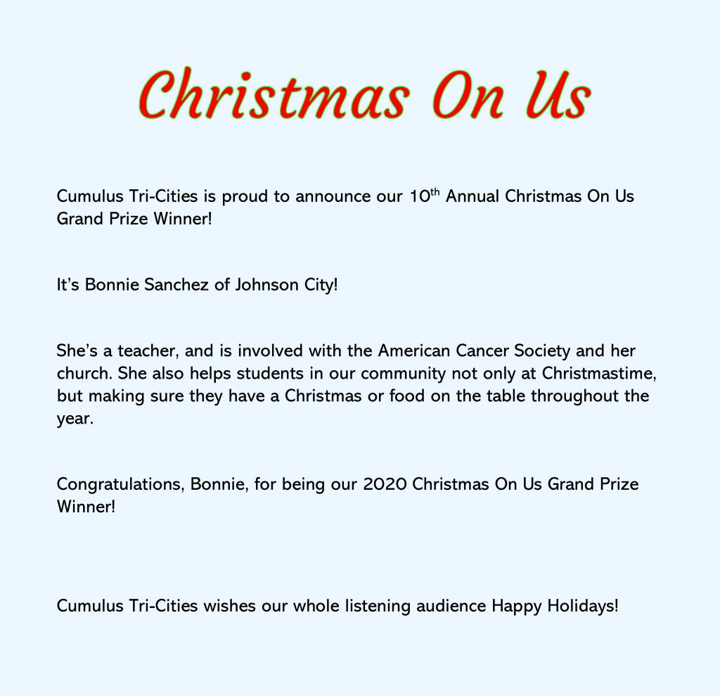 Christmas On Us 2020 Grand Prize Winner