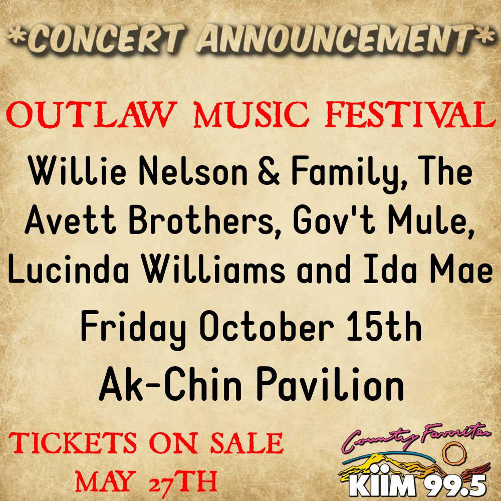 10/15: Outlaw Music Festival at Ak-Chin Pavilion