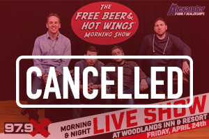Free Beer & Hot Wings LIVE – CANCELLED
