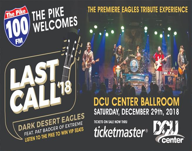 "I'ts the PIKE ""End of Year Party"" with the Dark Desert Eagles Sat. Dec 29th at the DCU Center Ballroom!"