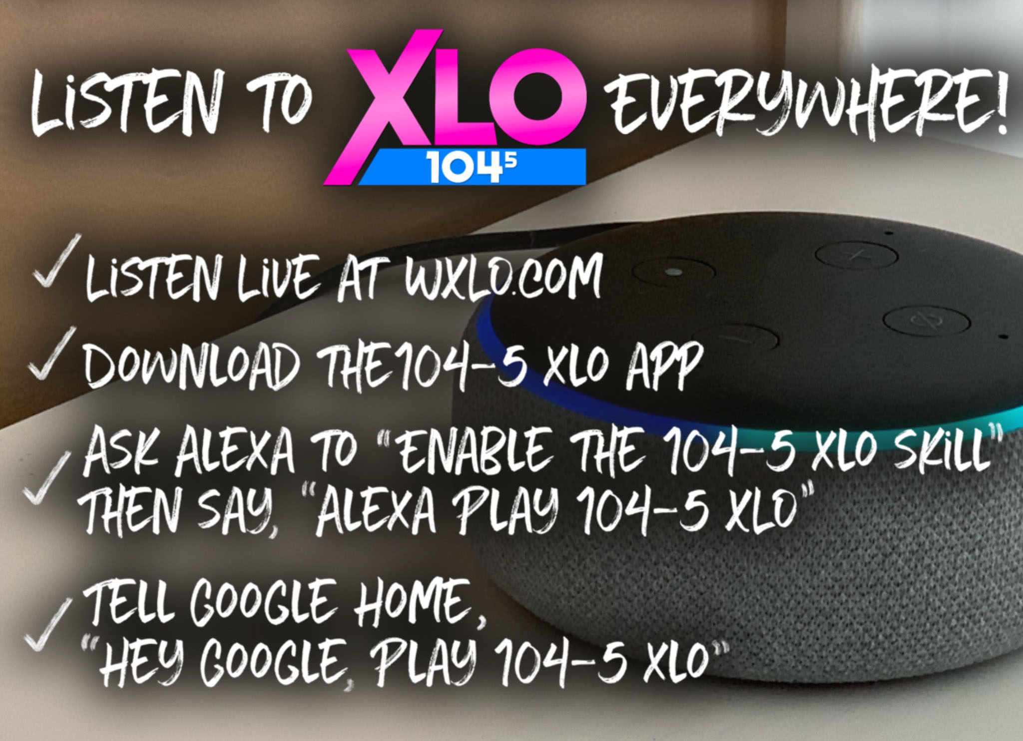 Stream 104-5 XLO from ANYWHERE!