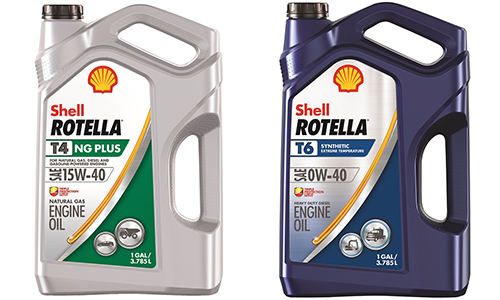 NEW SHELL ROTELLA T4 NG PLUS ENGINE OIL FOR NATURAL GAS ENGINES AND SHELL ROTELLA T6 FULL SYNTHETIC 0W-40 ENGINE OIL FOR DIESELS OPERATING IN COLD CLIMATES
