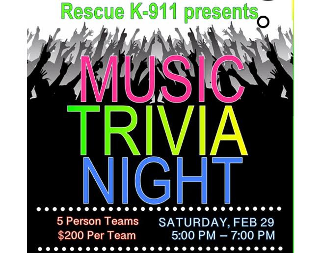 K-911 presents Music Trivia Night! Feb. 29th