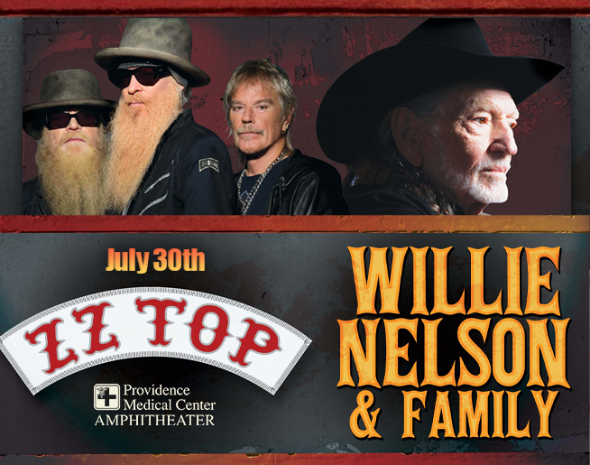 ZZ Top & Willie Nelson – Providence Medical Center Amphitheater July 30th
