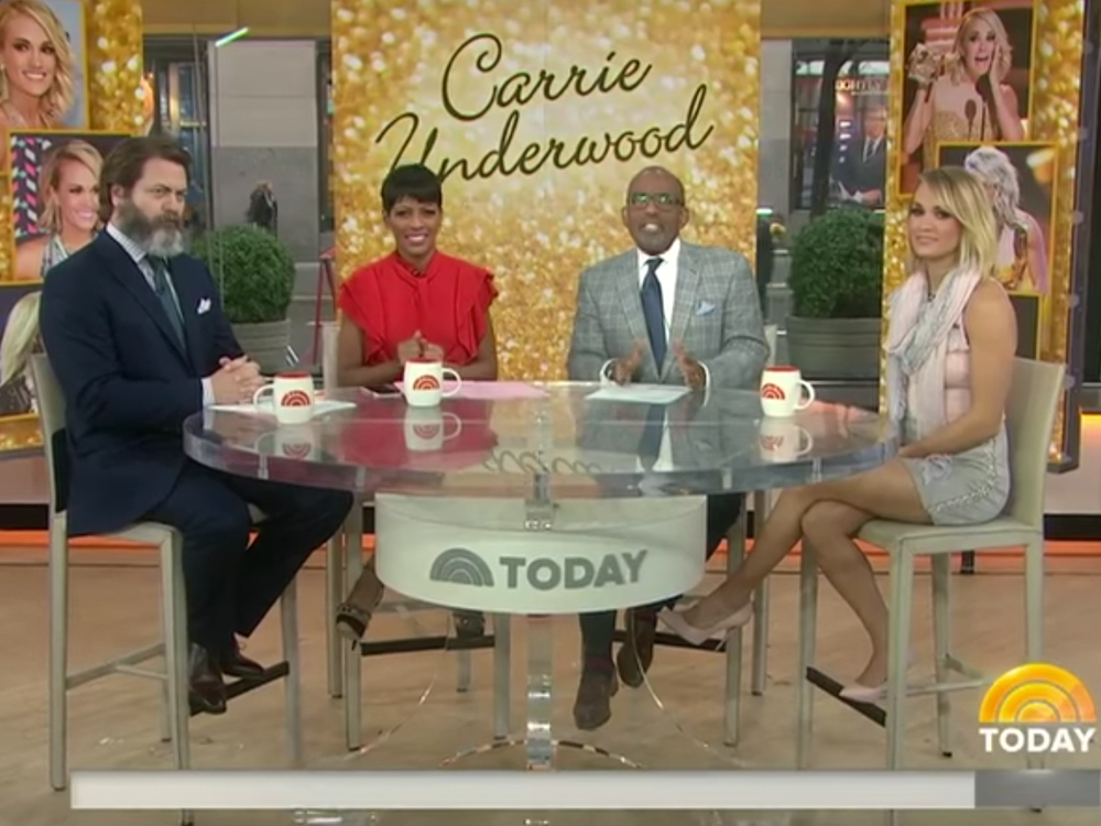 """Watch Carrie Underwood Talk With Ron Swanson About Skydiving, """"The Walking Dead"""" & More on the """"Today"""" Show"""
