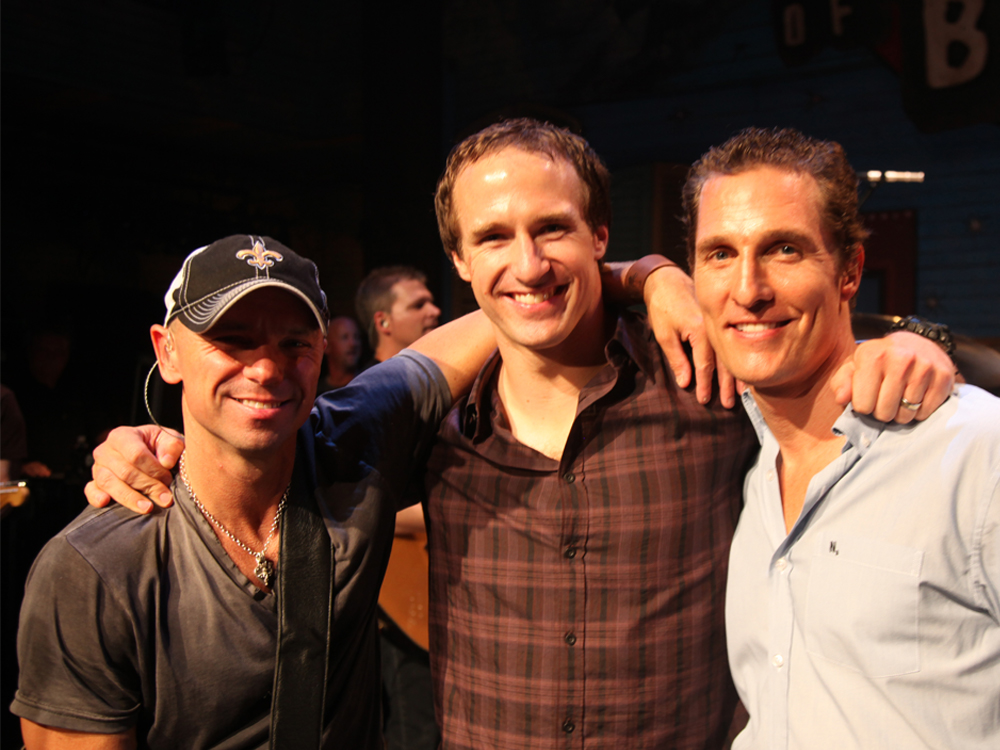 Kenny Chesney Teams With Drew Brees and Matthew McConaughey for House of Blues Benefit on April 8 [Tickets On Sale Feb. 10]