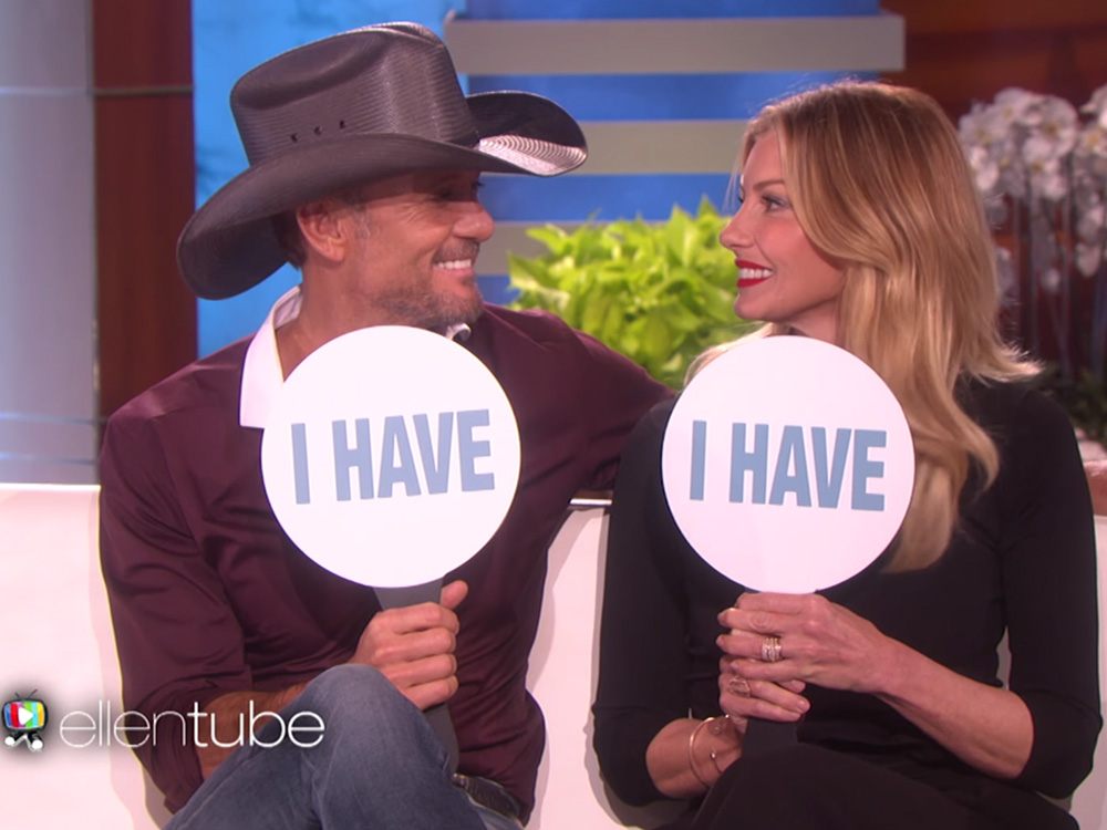 """Watch Tim McGraw and Faith Hill Get Personal While Playing """"Never Have I Ever"""" on """"The Ellen DeGeneres Show"""""""