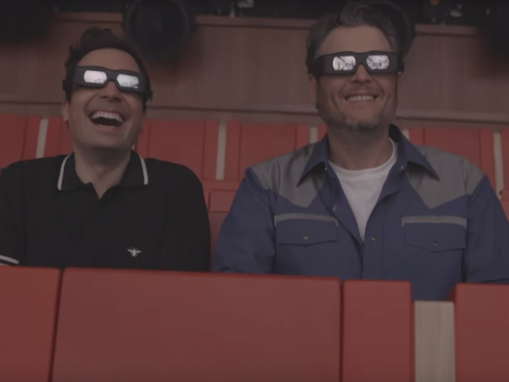 """Watch Blake Shelton's Busy Night on """"Jimmy Fallon,"""" Including a Thrill Ride, Almost Puking, a Gwen Stefani Parody & Performance of """"Every Time I Hear That Song"""